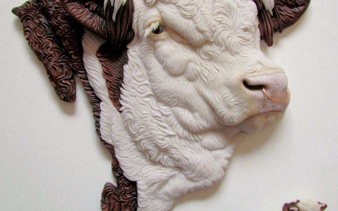 Hereford Bull plaque and brooch by Alison Payne and Antony Halls