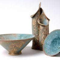 Ceramics by Rachel Padley cream turquoise range