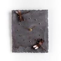 Copper and slate clock by Angela Thoo