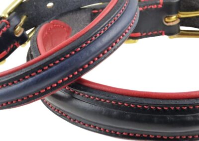 ESB Black and Navy Raised collars, red lining, red contrast stitching