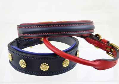 ESB Leather Selection of Navy and Red dog collars