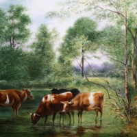 Cattle in the stream by Chris Burns