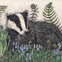 Badger and Bluebells by Jennifer Chance