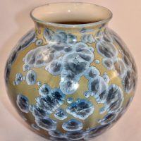 Large Rounded Moon Vase 11 Inches Tall Blue Green Crystalline Glaze 2021